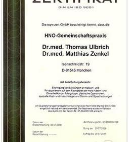 Die HNO Plus Ärzte sind ISO zertifiziert